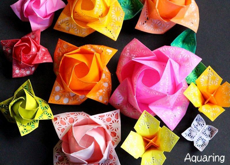 薔薇と水仙の切り絵折り紙